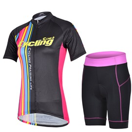 Female Black Bike Sponged Breathable Jersey with Zipper Outdoor Cycling Suit