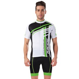 Male Streamline Breathable Road Bike Jersey with Full Zipper Cycling Bib Shorts Suit