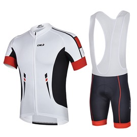 Male White Breathable Jersey with Full Zipper Short Sleeve Quick-Dry Cycling Bib Suit