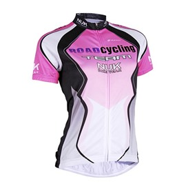 Female Purple Quick-Dry Short Sleeve Jersey with Full Zipper Breathable Cycling Jersey