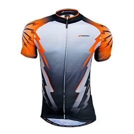 Male Orange Flash Pattern Breathable Bike Jersey Full Zipper Quick-Dry Cycling Jersey