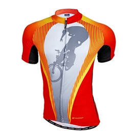 Male Abstract Orange Breathable Road Bike Jersey Full Zipper Quick-Dry Cycling Suit