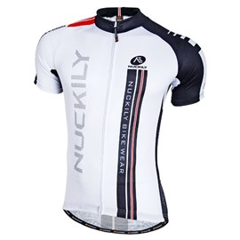 Male White Breathable Streamline Bike Jersey Full Zipper Quick-Dry Cycling Jersey