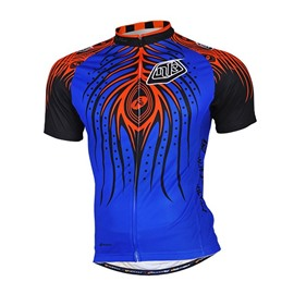 Male Blue Evil Abstract Quick-Dry Road Bike Full Zipper Breathable Cycling Jersey