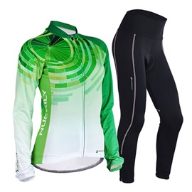 Female Green Breathable Bike Jersey with Full Zipper Quick-Dry Long Sleeve Cycling Suit