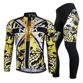 Male Yellow Dragon Pattern Long Sleeve Bike Jersey with Full Zipper Quick-Dry Sponged Cycling Suit