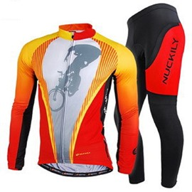Male Orange Long Sleeve Bike Jersey with Full Zipper Quick-Dry Cycling Suit