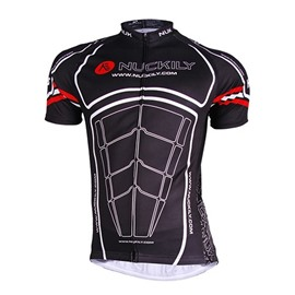 Male Black Muscle Pattern Breathable Bike Cloth Quick-Dry Short Sleeve Cycling Jersey
