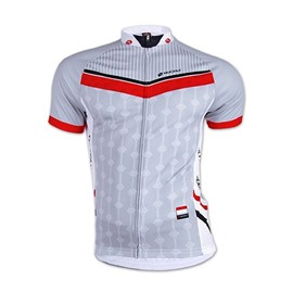 Male Gray Breathable Short Sleeve Jersey Full Zipper Quick-Dry Cycling Jersey