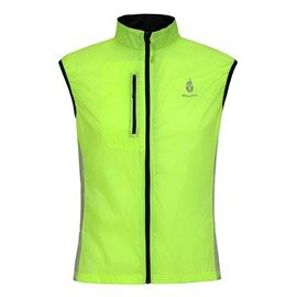 Male Green Windproof Bike Wear Breathable Cycling Soft Shell Vest Jersey