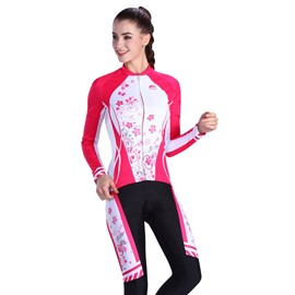 Red Flower Padded Pants Road Bike Comfortable Women's Cycling Jersey