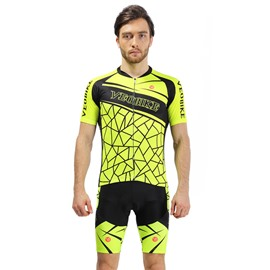 Yellow 3D Padded Pants Road Bike Comfortable Men's Cycling Jersey