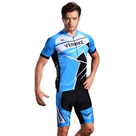3D Silicone Magic Padded for Bike Men Cycling Jersey Set Light Blue