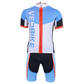 Light Blue Hexagon 3D Padded Pants Short Sleeve Men's Cycling Jersey
