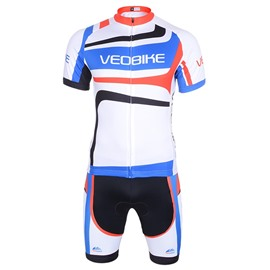 White Pattern 3D Padded Pants Short Sleeve Men's Cycling Jersey