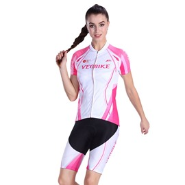 Light Pink 3D Padded Pants Short Sleeve Women's Cycling Jersey