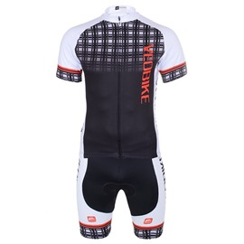 Black Mesh 3D Padded Pants Short Sleeve Men's Cycling Jersey