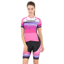3D Padded Pants Short Sleeve Pink Color Women's Cycling Jersey