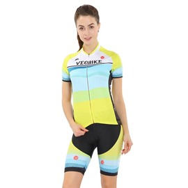 Yellow 3D Padded Pants Short Sleeve Women's Cycling Jersey