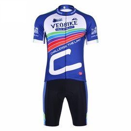 Blue Track Pattern 3D Padded Pants Short Sleeve Men's Cycling Jersey
