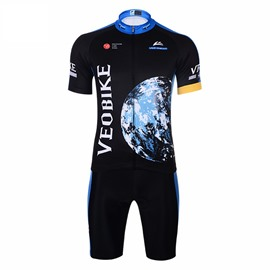 Earth Pattern 3D Padded Pants Short Sleeve Men's Cycling Jersey