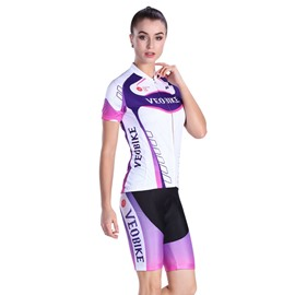 Purple Pattern 3D Padded Pants Short Sleeve Women's Cycling Jersey
