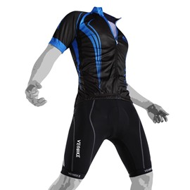 Men's Cycling Clothing Set Breathable Quick Dry Jersey Glitter Blue Line