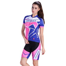 Pink with Blue 3D Padded Pants Short Sleeve Women's Cycling Jersey