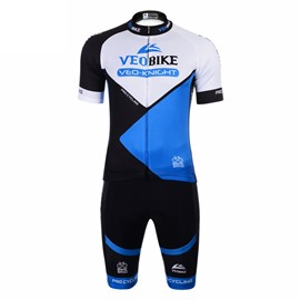 Blue Color Block 3D Padded Pants Short Sleeve Men's Cycling Jersey