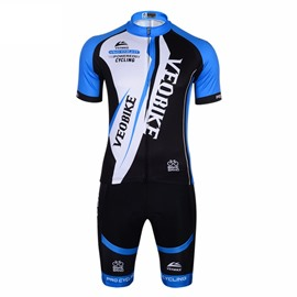 Blue Short Sleeve 3D Padded Pants Men's Cycling Jersey