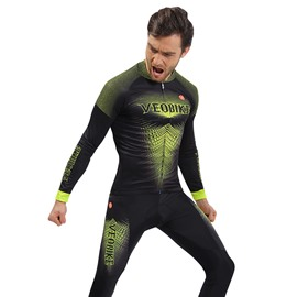 Green Monster 3D Padded Pants Long Sleeve Men's Cycling Jersey