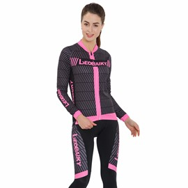 Pink Line Breathable Quick Dry Long Sleeve Women's Cycling Jersey