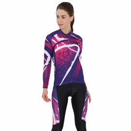 Purple Galaxy 3D Padded Pants Long Sleeve Women's Cycling Jersey