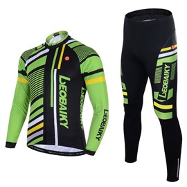 Men's Cycling Clothing Set Breathable Quick Dry Long Sleeve Jersey Stripe