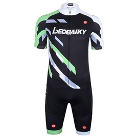 Men's Short Sleeve Green Color Block Quick-Dry Breathable Jersey set