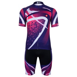 Men's Short Sleeve Quick-Dry Purple Red Breathable Jersey set
