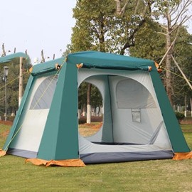 4-6 Person Double Layers Steel Skeleton Instant Camping and Hiking Square Roof Tent