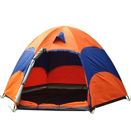 3-4 Person Breathable Color Block Hexagonal Outdoor Camping and Hiking Tent