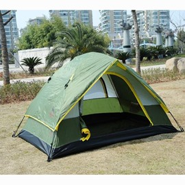 2 Person Two Layers Dark Green Waterproof Screened Outdoor Camping Tent