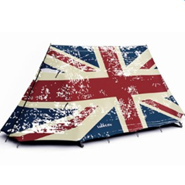 2-Person Retro Union Jack Pattern Outdoor Tent with Two Layers Waterproof Camping Tent