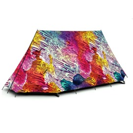 3-Person Colorful Sea Wave Pattern 3D Design Printed Outdoor Waterproof Camping Tent