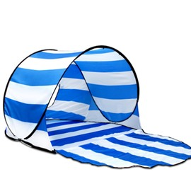 UV Protection Light Instant Pop-Up Cabana Beach Blue White Stripe Tent