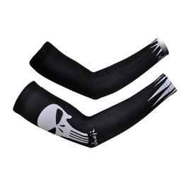 Male Black Evil Skull Absorbent Cycling Golf UV Protection Cooling Arm Sleeve