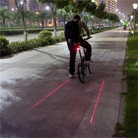 5 LED 2 Laser Beams Intelligent Bike Logo Safety Rear Tail Light Red Color