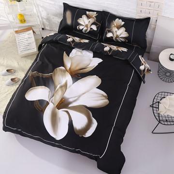 3D White Magnolia Printed 4-Piece Floral Bedding Set/Duvet Cover Set Black Polyester