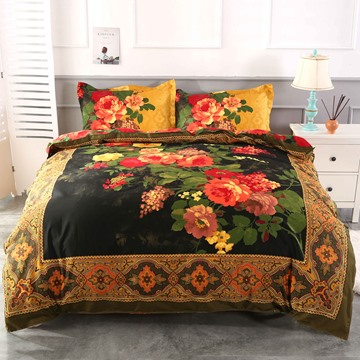 US Only 3D Peony Oil Painting Retro Style 4-Piece Duvet Cover Sets Shipped From the US Only 15 Left In Stock Order Soon