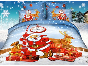 3D Holiday Santa and Reindeer Printed Cotton 4-Piece Bedding Sets/Duvet Covers