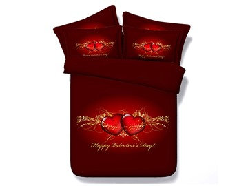 Happy Valentine's Day and Hearts Printed Cotton 3D 4-Piece Bedding Sets/Duvet Covers