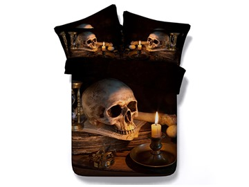 Skull and Candle Creepy Style Printed 4-Piece Halloween 3D Bedding Sets/Duvet Covers