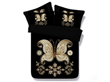 Golden Butterfly Printed Black 3D 4-Piece Bedding Sets/Duvet Covers